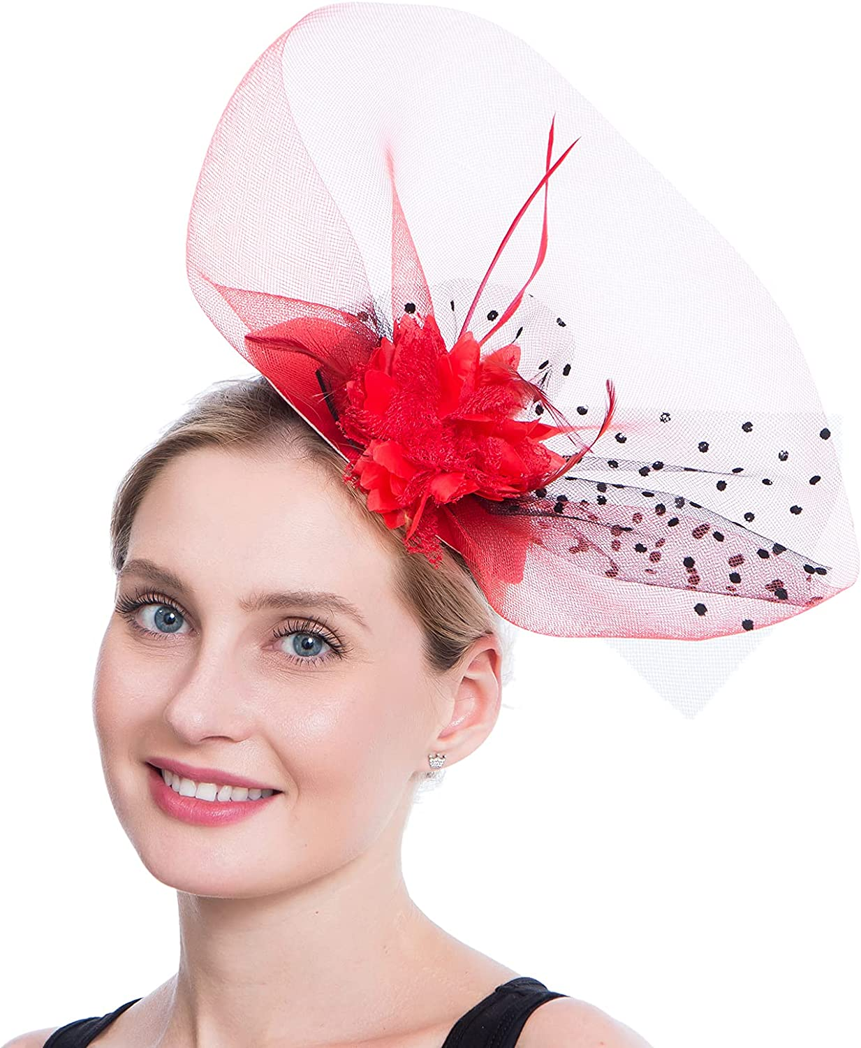 Ogteud Fascinators for Women Pillbox Hat with Veil Flower Feathers Vintage Derby Tea Party Hats Headband Clip for Wedding