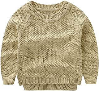 Baby Boys Girls Crochet Sweater Infant Kids Cable Knit Cotton Cardigans Casual Long Sleeve Pullover Spring 6M-4T