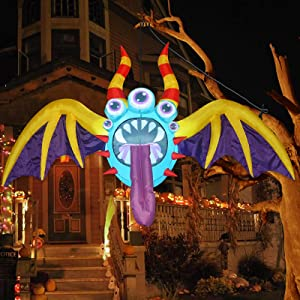 GOOSH 4.4 FT Wide Halloween Inflatable Hanging Bat with 5 Eyes Blow Up Yard Decoration Clearance with LED Lights Built-in for Holiday/Party/Yard/Garden