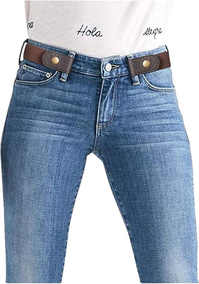 Women/Men Buckle-Free Elastic Belt for Jeans, Ladies Invisible Belt Fits Waist 24-48 inches