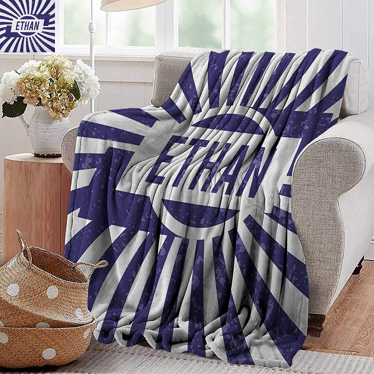 XavieraDoherty Bed Blanket,Ethan,Grunge Letters in Navy bluee in a Circle with Wavy Stripes Boys Birthday, Navy bluee and White,for Bed & Couch Sofa Easy Care 35 x60