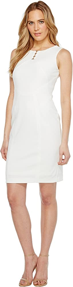 Sleeveless Scuba Dress with Hardware