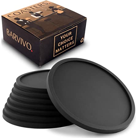 Protect Furniture from Water Marks Scratch and Damage 6 Pcs Coasters for Drinks with Black Marble Design THIPOTEN Leather Coasters with Holder Black Marble, Round