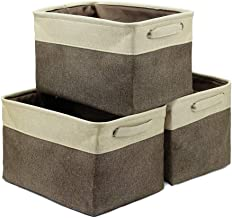 Rectangular Storage Basket Collapsible Storage Bin Kid's Toys Pets Products Shelf Basket, Set of 3, Beige and Brown