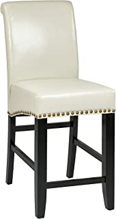 Office Star Metro Bonded Leather Parson's Counter-Height Bar Stool with Nailhead Accents, 24-inch, Cream