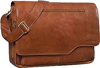 "STILORD Marvin"" Ledertasche Umhängetasche Modernes Vintage Design 15.6 Zoll Laptoptasche große Unitasche College Bag echtes Leder"