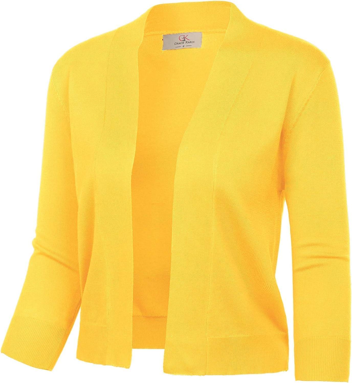 GRACE KARIN Women's 3/4 Sleeve Knit Cropped Cardigan Sweaters Open Front Bolero Shrugs Coat Tops S-3XL