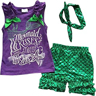 Kids Girls Summer Ruffle Shirts Sequin Mermaid Short Pant Outfits with Headband