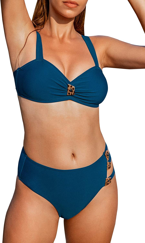 CUPSHE Women's High Waist Bikini Swimsuit Button Strappy Two Piece Bathing Suit