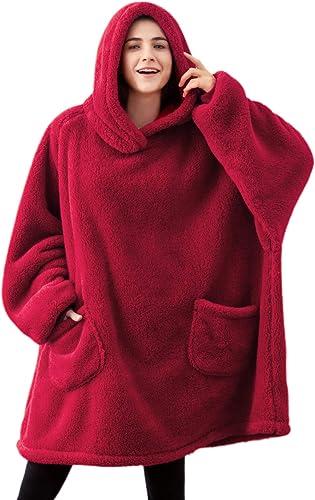 Bedsure Batamanta Mujer Polar Invierno - Bata Manta para Hombre con Capucha, Sudadera Manta con Mangas, Hoodie Blanke...