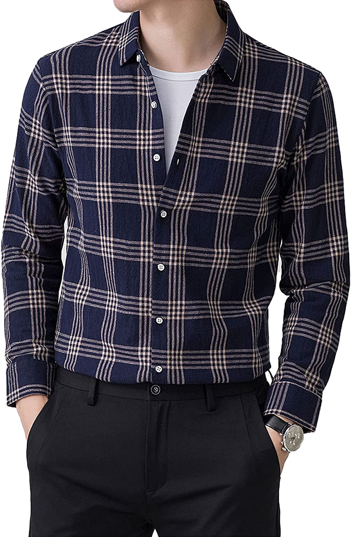 Men's Plaid Long-Sleeved Shirt Light Business Casual Cotton Button Up Shirt Top