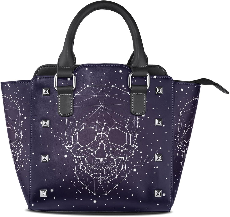 My Little Nest Women's Top Handle Satchel Handbag Abstract Skull Constellation Ladies PU Leather Shoulder Bag Crossbody Bag