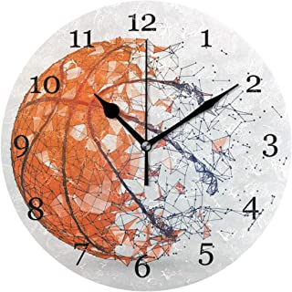 Abstrakt sport boll basket väggklocka tyst icke-tickande 25 cm rund klocka akryl konstmålning hem kontor skoldekor