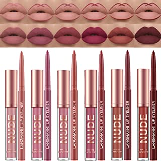 Petansy 12pcs Lipstick Makeup Kit, 6 Colors Matte Nude Liquid Lip Sticks + 6 Matching Smooth Lip Liner, All in One Waterpr...