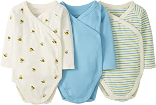 Moon and Back by Hanna Andersson 3 Pack Long Sleeve Side Snap Bodysuit Unisex bebé, Pack de 3