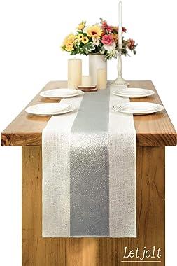 Letjolt Splicing Burlap Table Runner Glitter Sequin Table Runner Weekend Picnic Jute Hessian Rustic Fabric Farmhouse Table De
