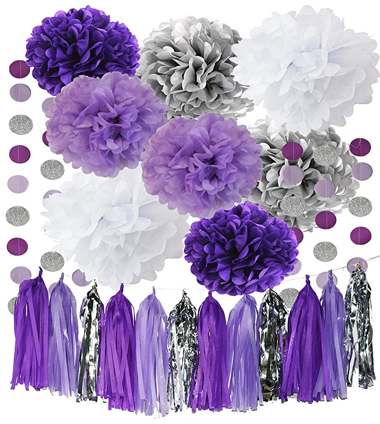 Monkey Home Bridal Shower Decorations Purple White Silver Tissue Pom Pom Amaranth Purple Silver Circle Paper Garland for Baby Shower Decorations/Birthday Decorations