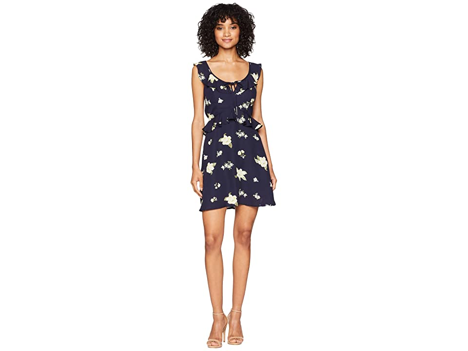 J.O.A. Double V-Neck Dress (Navy Floral) Women