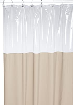 Carnation Home Fashions Antibacterial 72 by 72-Inch Vinyl Window Shower Curtain, Linen