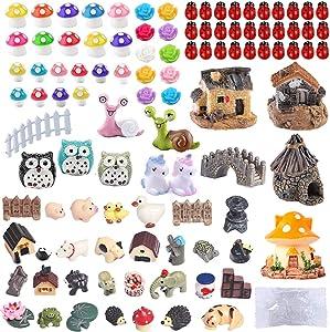 104 PCS Miniature Fairy Garden Accessories, Including Fairy Garden Animals, Mini Garden Houses and DIY Fairy Garden Dollhouse Decoration,Miniature Figurines, Micro Landscape Ornaments, Garden DIY Kit