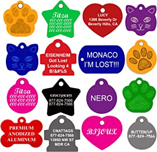 CNATTAGS Dog ID Tags Personalized | Many Shapes to Choose from| 8 Colors