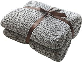 MYLUNE HOME 100% Baumwolle Stilvolle Strickdecke für Fernsehen oder Nap auf dem Stuhl,..