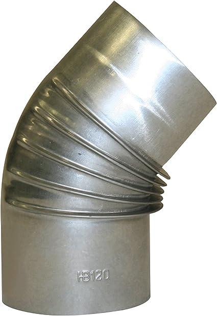 120 mm Coude de Po/êle 45/° en Acier Alumini/é /à Chaud,Test/é EN-1856-2 Argent/é Kamino-Flam Tuyau de Po/êle Coude /Ø env