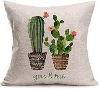 Smilyard Succulents Cactus Pillow Covers Cotton Linen Quote Decorative Throw Pillow Case Cushion Cover 18X18 Inches (You & Me)