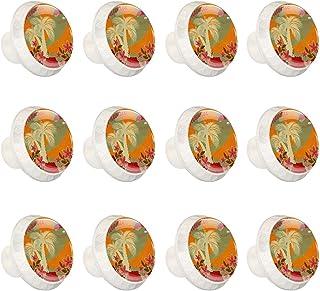 Boutons D'armoire 12 Pcs Poignés Poignée De Champignons Porte Poignées avec Vis pour Cabinet Tiroir Cuisine,Tropical Hawai...