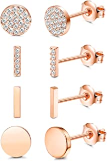 Women's Stainless Steel Rose Gold Plated Stud Earring (4 Pairs), Crystals from Swarovski