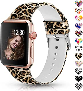 Sunnywoo Leopard Bands Compatible with Apple Watch Band 38mm/40mm/42mm/44mm, Soft Silicone Fadeless Pattern Printed Replacement Sport Bands for iWacth Series 4/3/2/1, S/M M/L for Women/Men