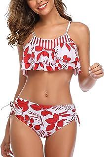Vizakiss Woemn Bikini Two Piece High Waisted Swimsuit Ruffled Flounce Tassel Bathing Suits