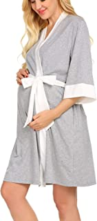 Ekouaer Maternity Nursing Robe,Delivery Nightgowns Hospital Breastfeeding Gown