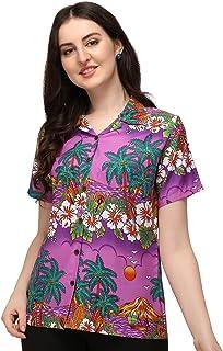 بلوزة نسائية من ALVISH مطبوع عليها عبارة Hawaiian Shirt Hibiscus Flower Aloha Beach Top بلوزة كاجوال للسباحة للسيدات
