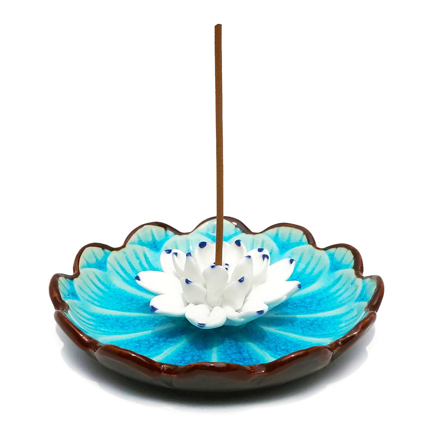 繊細流用する死傷者(Light Blue) - Incense Stick Burner Holder - Porcelain Decorative Flower Incense Burner Bowl - Ceramic Incense Ash Catcher Tray (Light Blue)