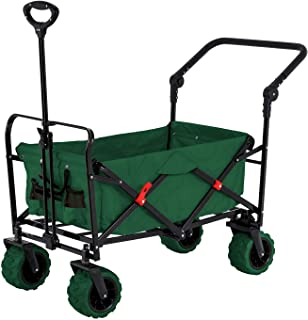 Green Wide Wheel Wagon All Terrain Folding Collapsible Utility Wagon with Push Bar - Portable Rolling Heavy Duty 265 Lb Capacity Canvas Fabric Cart Buggy - Beach, Garden, Sporting Events, Park, Picnic