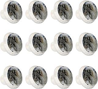 Boutons D'armoire 12 Pcs Poignés Poignée De Champignons Porte Poignées avec Vis pour Cabinet Tiroir Cuisine,Beau loup