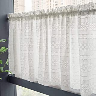 Dhdfj Jgh Linen Fabric Translucent Short Curtain, White Semi-Open Small Curtain, Suitable for Kitchen/Coffee Shop/Bedroom/Bathroom, 2 Panels (1 Set of 2 Pieces with Curtain Rods, No Punching)
