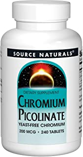 SOURCE NATURALS Chromium Picolinate 200 Mcg Tablet, 240 Count