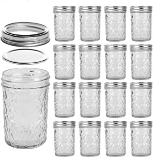 LEQEE Mason Jars 8 oz 16 PACK Mini Canning Jars with Silver Lids and Bands Regular Mouth Jelly Jar for Jam, Honey, Wedding...