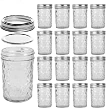 LEQEE Mason Jars 8 oz Mini Canning Jars with Silver Lids and Bands Regular Mouth Jelly Jar for Jam, Honey, Wedding Favors,...