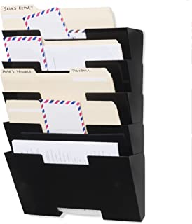 Wallniture Lisbon Wall Mount Steel Vertical File Organizer Holder Rack 5 Sectional Modular Design Multi-Purpose Organize Display Magazines Sort Files and Folders (Black)
