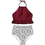 SweatyRocks Women's Sexy Bathing Suits Halter High Neck Ruffle Print Bikini Set High Waist Swimsuit
