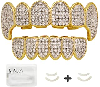 Gold Teeth Grillz Pave CZ Vampire Fangs Grillz for You Teeth with 4 Silicon Molding Bars(2 Extra)