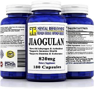 Mental Refreshment: Pure Jiaogulan - 180 Capsules - Adaptogen, Supports Stamina & Endurance, Immune System & Cardiovascular Health.