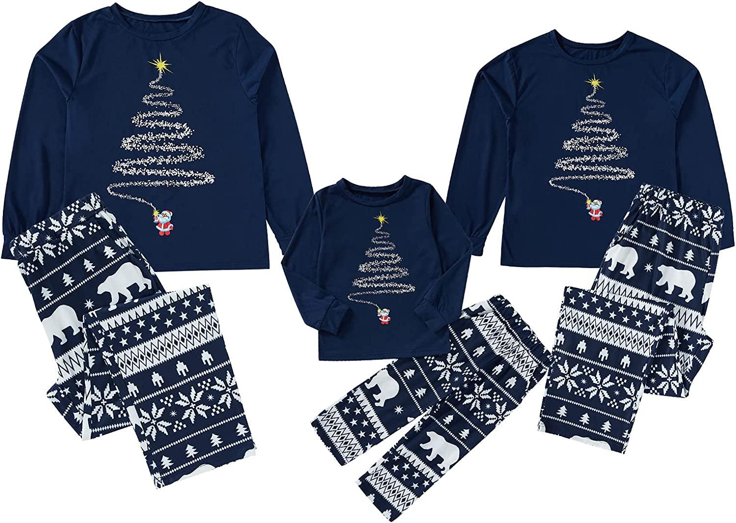 Christmas Matching Family Pjs Outfits Long Sleeve Sleepwear Xmas Pants Clothes Loungewear Outfit