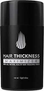 Hair Thickness Maximizer 2.0 - Safer Than Keratin Hair Building Fibers with 2nd Gen All Natural Plant Based Hair Loss Concealing Fillers for Instant Thickening of Thinning or Balding Hair (Black)