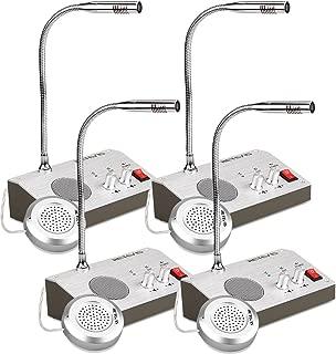 Retevis RT-9908 3W/3W Window Speaker Bank Counter Window Intercom System Anti Interference Noise Free Dual Way Intercommunication Microphone (4 Pack)