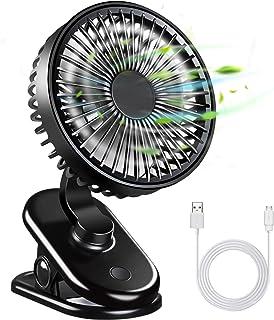 QHUI USB Mini Ventilator, Leise Clip Tischventilator mit Wiederaufladbare Batterie, Drehbare Klein Schreibtischventilator mit 3 Geschwindigkeitsstufen, 270° Einstellbare Fan für Büro PC Kinderwagen
