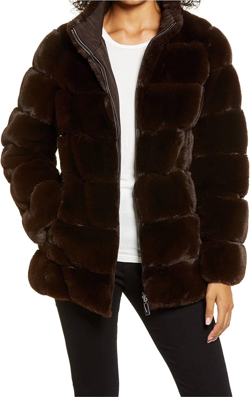Via Spiga Womens Quilted Reversible Faux Fur Coat Brown XL
